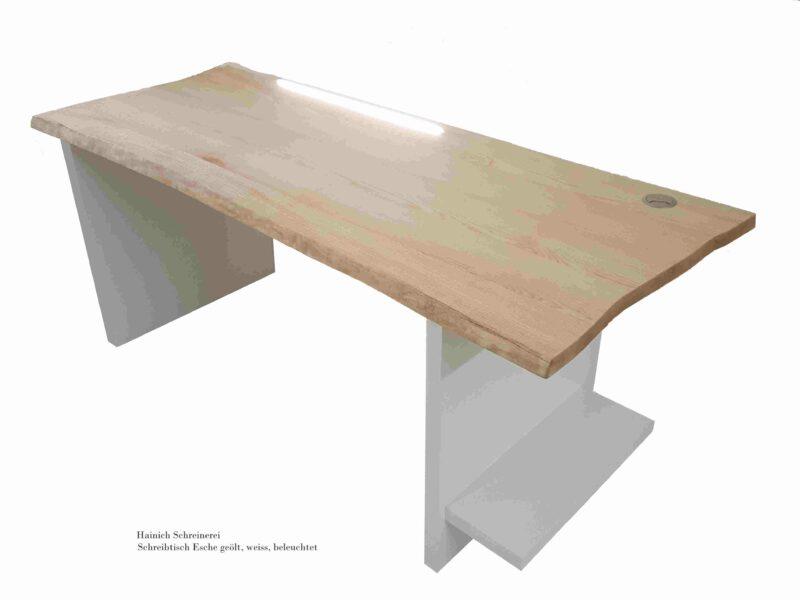 Schreibtisch Esche geölt, weiss, beleuchtet